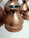 Set of Five Antique Copper Measuring Jugs Set with Lead Stamp