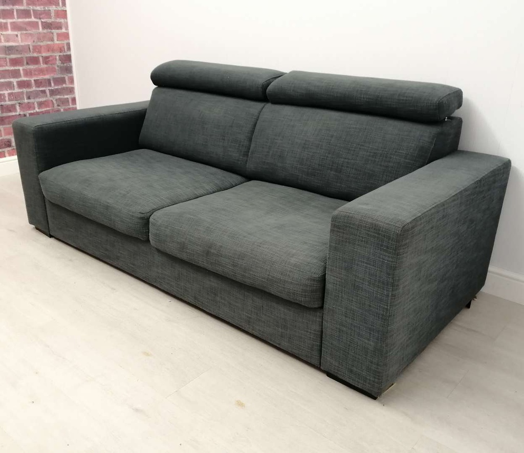 Dark Grey Two Seater Sofa with Adjustable Headrest
