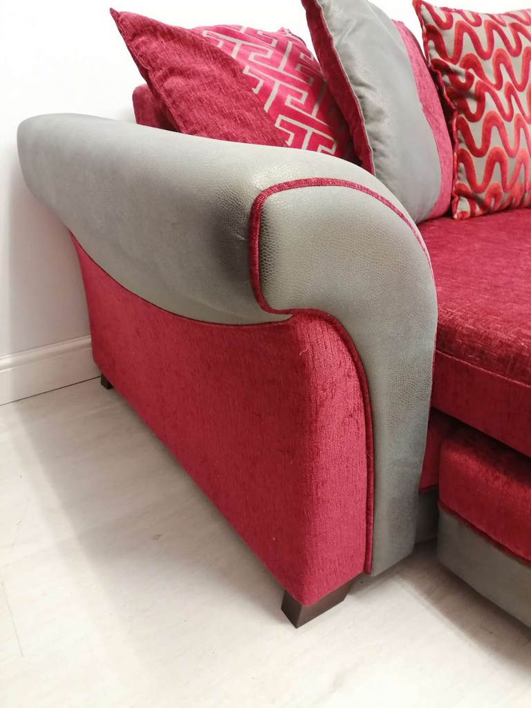 DFS Red & Grey Four Seater Chaise-End Pillow Back Sofa