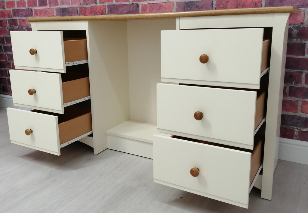 Cream Six Drawer Dressing Table
